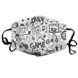 Monochrome Sketch Style Gaming Design Racing Monitor Device Gadget Teen 90sPrinting Mouth Cover Ma-sk for Adult Kids