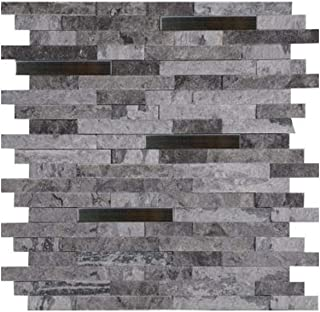 MS International Eclipse Interlocking 12 in. x 12 in. x 8 mm Metal Stone Mesh-Mounted Wall Tile - Lot of 5 sheets