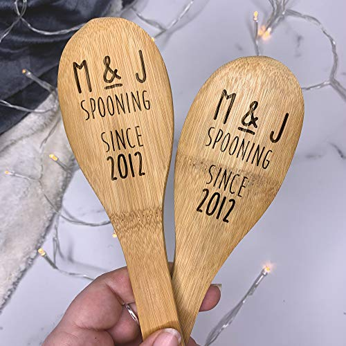 Set of 2 Personalised Spooning Since Wooden Spoons, Engraved Mixing Spoon, Funny Wooden Spoon
