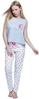 1204f66404 Sensis Trendiger Baumwoll-Pyjama (Made in EU) Schlafanzug Hausanzug aus  lässigem Shirt und
