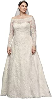 8ee60fdcc2 David s Bridal Off-The-Shoulder Plus Size A-Line Wedding Dress Style 8CWG765