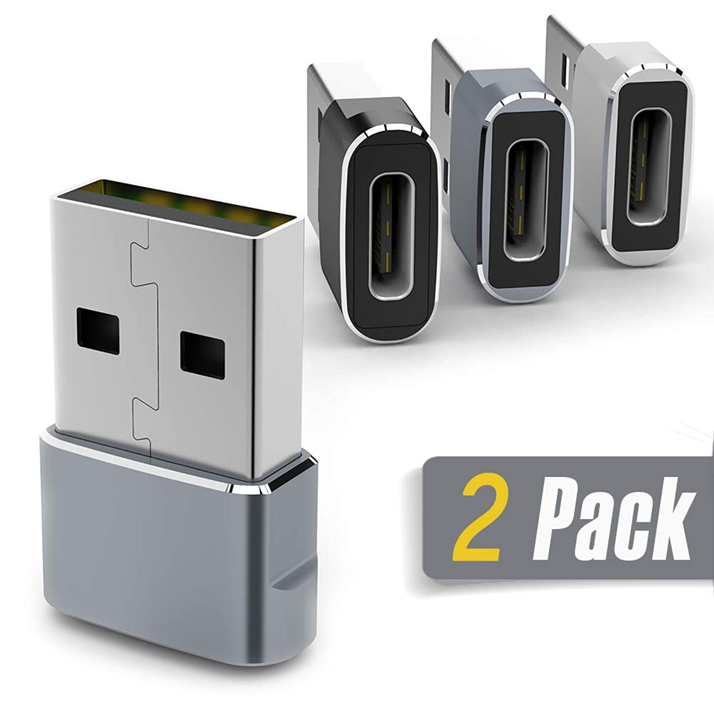 USB C Female to USB Male Adapter, Accerzone 2Pack Type-C to USB A Fast Charging Sync Connector OTG Adapter, Compatible with Laptop, Power Banks, Wall Car Charger with USB A Interface (Grey)