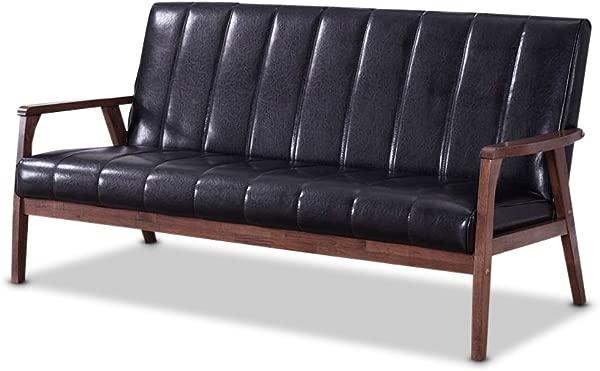 Baxton Furniture Studios Nikko Mid Century Modern Scandinavian Style Faux Leather Wooden 3 Seater Sofa Black