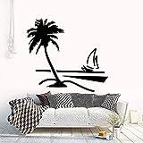 wZUN Árbol de Coco en la Playa calcomanía de Vinilo Arte Planta y Flor Pegatina decoración del hogar extraíble 68X63cm