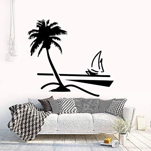 wZUN Árbol de Coco en la Playa calcomanía de Vinilo Arte Planta y Flor Pegatina decoración del hogar extraíble 85X79cm