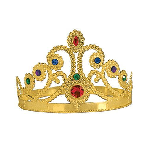 Plastic Jeweled Queen's Tiara (gold) Party Accessory  (1 count) (1/Pkg)