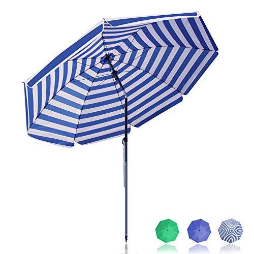 BelleMax Sonnenschirm Balkon Gartenschirm Ø 180 cm mit Bodenhülse & Drehstange & Schutzhülle Marktschirm Terrassenschirm Blaue weiße Streifen Rund Sonnenschutz UV50+