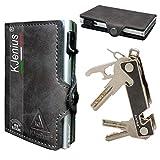 Minimalisten kreditkartenetui Geldklammer aus Leder Crazy Horse Mini Portemonnaie Slim Wallet...