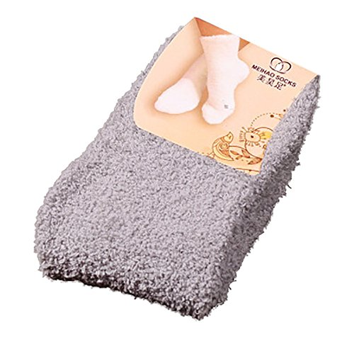 Lazzboy Weiches Bett Bodensocken Fluffy Warm Winter Pure Color Damen Warme Socken Premium Qualität Pack Dicke Stricksocke(Grau)