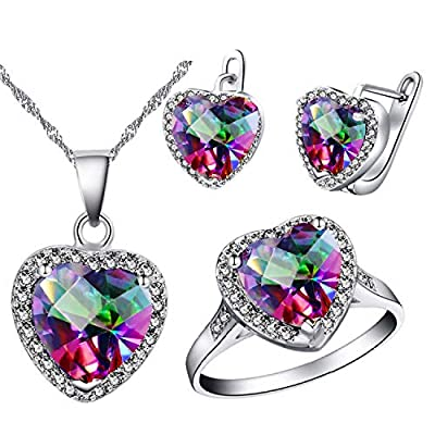 Uloveido Rainbow Rhinestone Women Heart Cocktail Ring, Dangling Earrings and Pendant Necklace Jewelry Set for Girls T481