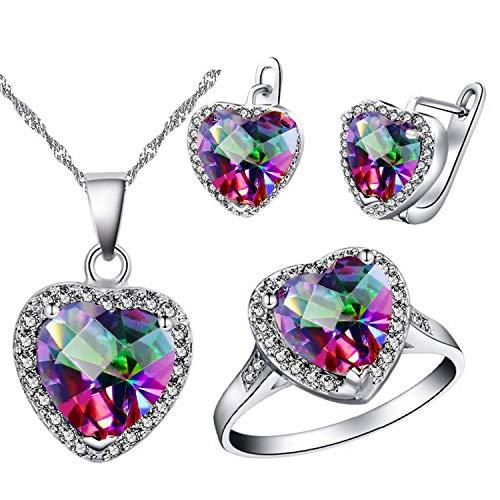Uloveido Big Heart Shape Kristall Tropfen Anhänger Halskette, Ohrringe und Ringe Set für Frauen Geburtstag Jubiläum T481