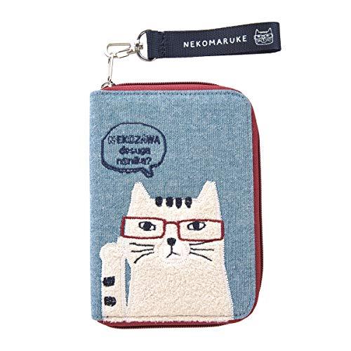 クスグルジャパン ネコまるけ雑貨 カードケース 21-2008#2/BL ブルー おしゃれでかわいい ネコザワさん