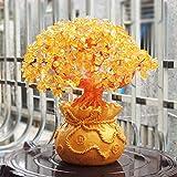 VOSAREA 19 cm Naturkristall Glücksbaum Geld Ornamente Baum Stil Bonsai Reichtum Feng Shui Ornamente für Zuhause (ohne Münzen)