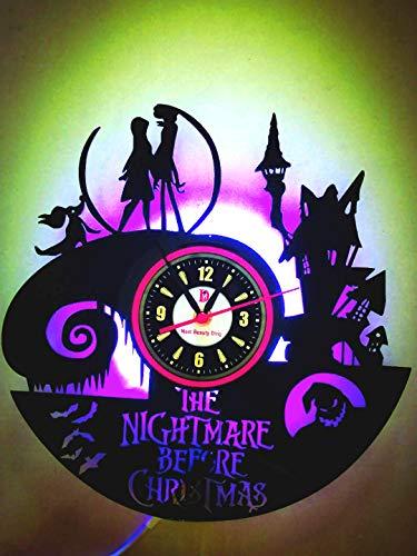 Meet Beauty Ding Reloj de Pared de Vinilo Exclusivo Reloj de Arte Creativo Regalo- Hecho a Mano DIY con LED 30CM Redondo - Pesadilla Antes de Navidad Jack y Sally Theme