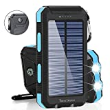 Solar Charger Solar Power Bank 20000mAh Waterproof Portable External Backup Outdoor Cell Phone Battery Charger with Dual LED Flashlights Solar Panel for Compatible with All Smartphone (Black & Blue)