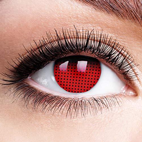 Farbige Kontaktlinsen ohne Stärke Red Screen Rot Schwarz Rand Motiv Linsen Halloween Karneval Cosplay Schwarze Augen Black Red Cyborg Cyber Gruselig Anime Manga