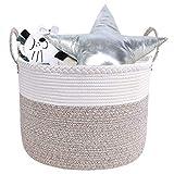 IvyH Canasta de Cuerda de algodón Extra Grande, 50 x 50 x 35 cm Canasta de lavandería Plegable Caja de Almacenamiento de Juguetes para bebés Trenzados Canasta de lavandería para Mantas Ropa con asa