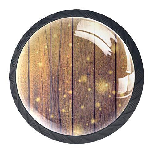 Pomos Para Armario Destello de madera 4x estilo magnífico gabinete de Redondo perillas tire manijas para muebles armario cajón armario cocina baño 35mm (Negro)