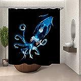 SARA NELL Shower Curtain Set,Blue Transpot Squid,Shower Curtain Premium Waterproof Fabric Bath Curtains,Bathroom Accessories Decor with 12 Hooks,72X72 Inches