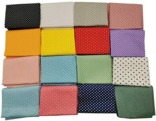 16pc Cotton Fabric Quilt Fabric Fat Quarter Bundle Polka Dots Pattern Sewing Handmade Textile Fabric Material 40 X 50cm