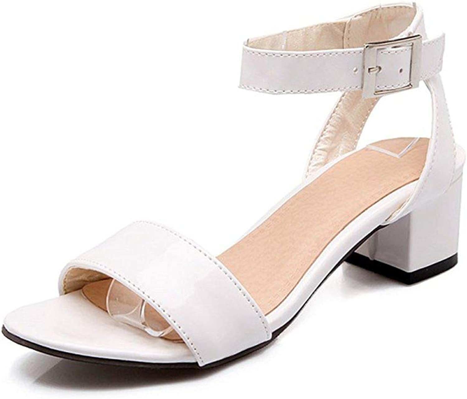 Unm Women's Simple Buckled Open Toe Dress Medium Chunky Heels Ankle Strap Sandals shoes