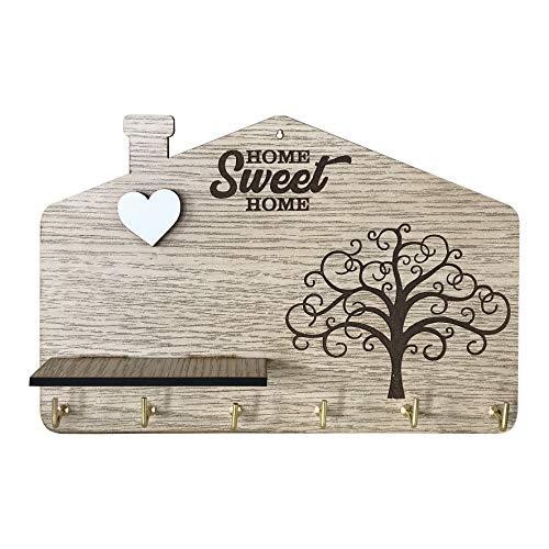 Portachiavi da parete in legno MDF, con testo 'Home Sweet Home' ed incisione albero della vita e cuore a rilievo bianco con mensola, appendi chiavi da parete 6 ganci, color legno.Idea regalo