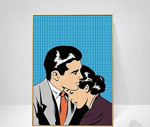 N / A Cuadro de pared abstracto en blanco y negro lienzo pintura decoración del hogar moderna pareja de amor nórdico sexy mujer pintura para sala de estar 50 x 70 cm sin marco