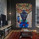 RTCKF Arte Abstracto Retrato de Pintura al óleo de Mujeres africanas sobre Lienzo Cartel escandinavo y Mural Moderno de la Sala de Estar (sin Marco) A6 60x90cm