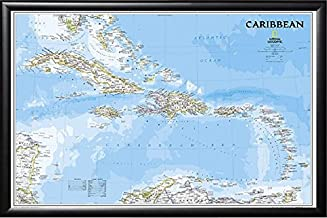 Poster Art House Framed Cuba - Jamaica - Haiti - Puerto Rico 24x36 Map Dry Mounted in Real Wood Black Finish Crafted in USA