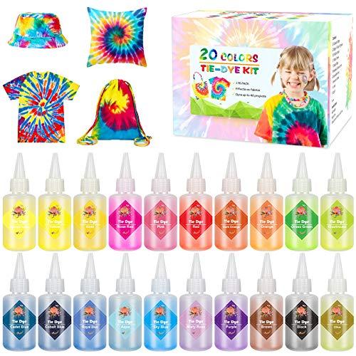Emooqi Tie Dye Kit, 20 Textilfarben Set Farbstoff mit Gummibänder & Handschuhe usw, Batikfarben Stofffärben Set Krawattefärben Kit für Erwachsene & Kinder, Ungiftig DIY Set