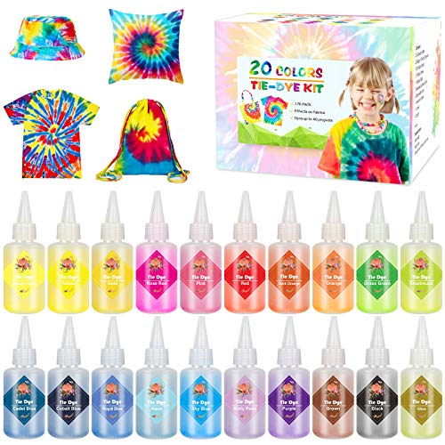 Emooqi Tie Dye Kit, Textiles de Tela 20 Piezas Colores Vibrantes Adecuado para Arte de Bricolaje...