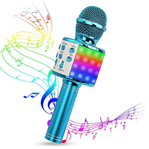 Karaoke Mikrofon, Drahtlose Bluetooth Mikrofon mit Tanzen LED Lichter, Tragbares Handmikrofon mit Lautsprecher und Aufnahme,Drahtlose Mikrofon Player für Erwachsene und Kinder (Blau)