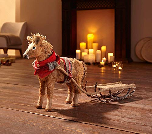 Deko-Figur Pferd mit Schlitten Hanf, Rattan & Jute, Winterdeko