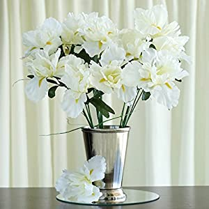 Silk Flower Arrangements Tableclothsfactory 60 pcs Artificial IRIS Flowers - 12 Bushes - Cream