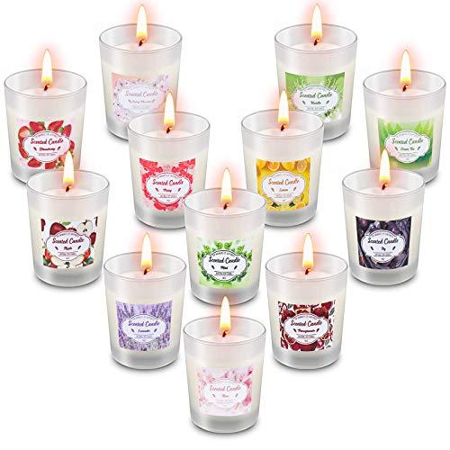 Facio Vela Aromática, 9 Piezas Regalo de Velas Perfumadas,100% de Cera de Soja Velas Perfumadas de Lata de Viaje para Aliviar el Estrés, Cumpleaños, Día de San Valentín, Día de La Madre