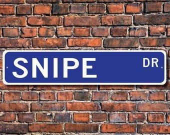Snipe, Snipe Gift, Snipe Sign, Snipe decor, Snipe liefhebber, wading vogel, lange slanke wetsvoorstel, vogelliefhebber, Aangepaste Straat Sign, Kwaliteit Metalen Teken