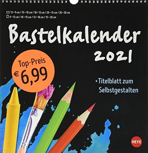 Bastelkalender 2021 schwarz groß - mit Titelblatt zum Selbstgestalten und Monatskalendarium - Format 32 x 33 cm