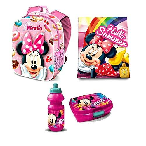 Disney Minnie Maus Mouse 4 Teile Kindergarten Rucksack Tasche Turnbeutel Brotdose Trinkflasche Set inkl. Sticker v. Kids4shop