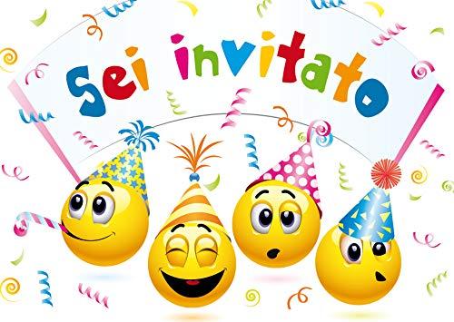 Edition Colibri 10 inviti per Festa di Compleanno; Motivo: Smiley / Emoticon / inviti di Compleanno...