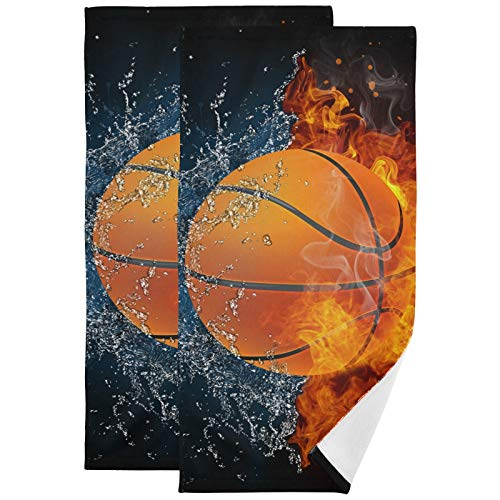 Toalla de mano 2 paquetes – Toallas de baloncesto 28 x 14 pulgadas Toallas de secado de pelo, toalla de baño, toallas de dedo para baño, habitación de huéspedes y cocina