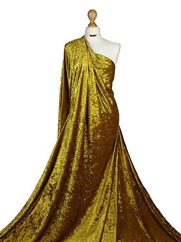 Tela de terciopelo triturado, de calidad prémium, de peso medio de 2 vías, elástica, material de tela CV01, dorado, 1 metro