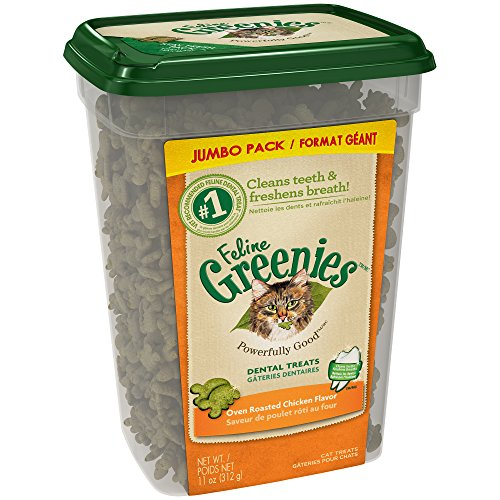 FELINE GREENIES Dental Treats For Cats Oven Roasted Chicken Flavor 11 Ounces