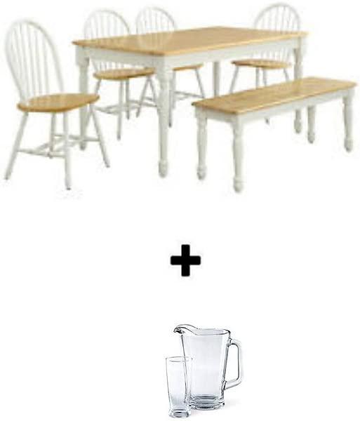 Better Homes And Gardens 秋季巷餐厅套装白色天然 6 件套餐厅套装