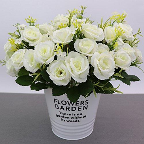 Unechte Blumen - Künstliche Deko Blumen Gefälschte Blumen Seidenrosen Plastik 10 Köpfe Braut Hochzeitsblumenstrauß für Haus Garten Party Blumenschmuck