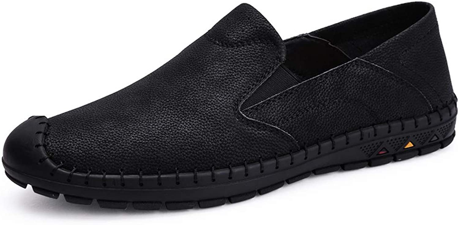 Fuxitoggo Mens Genuine Leather Driving shoes Soft Sole Non Slip Casual Slip on Loafers (color   Black, Size   UK 9.5)
