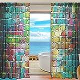 QMIN Vorhang mit Graffiti-Motiv, für Wand/Fenster/Tüll/Voile, für Tür, Wand, Schlafzimmer, Wohnzimmer, Küche, 139,7 x 198 cm, 2 Paneele, Voile Polyester Textil, Multi, 55x78x2(in)