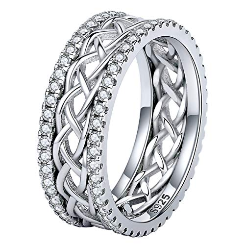 Bolelis Celtic Knot Eternity Love Rings 925 Sterling Silver CZ Criss Cross Knot Ring Wedding Band Celtics Jewelry for Women Her Girlfriend Wife Size 6-8 (6)