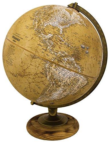 "Replogle Morgan – Designer Series Globe, Old World Style Globe, Raised Relief, Charred Hardwood Base, Antique brass plated Semi-Meridian, Velvety texture ball (12""/30 cm diameter)"