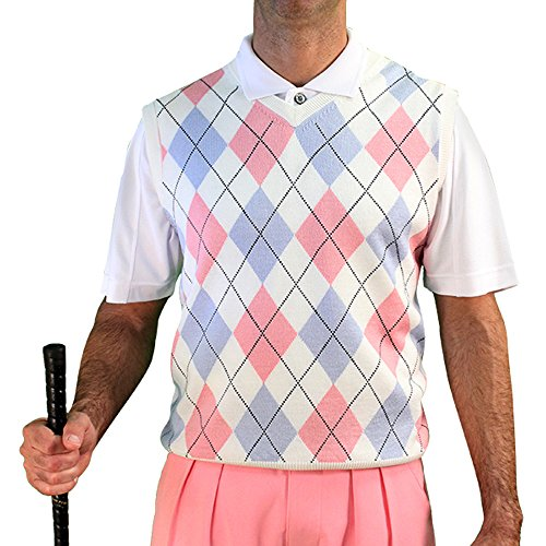 V-Neck Argyle Golf Sweater Vests - GolfKnickers: Mens - Pullover - White/Pink/Light Blue - XXL