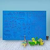 Lattcure - Plantilla para lápices 3D, diseño de animales, útil para principiantes, niños y artistas en 3D, con 2 dedos, 41,5 x 27,5 cm